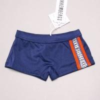 Zwemshort Navy met Oranje-blauw en logo bies