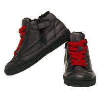 Lederen sneaker-rood veters - bontvoering