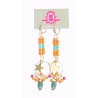 Katherina Loretta Lange oorbellen met oranje steentjes en goudkleurige ster