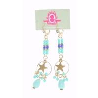 Katherina Loretta Lange oorbellen met turquoise steentjes en goudkleurige ster