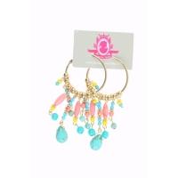 Katherina Loretta Ronde oorbellen goud met skull en turquoise-coral kralen