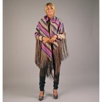 Multicolour sjaal met franjes - paars