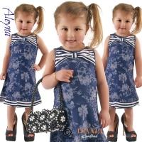 Jurk flowerprint blue navy