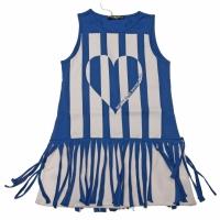 Tuniek Hart blauw-wit gestreept met sliertjers en neon armbandje
