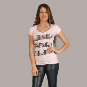 Guess jeans T-shirt Stop the moment pink