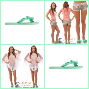 Jacky Luxury Slipper Strik turquoise