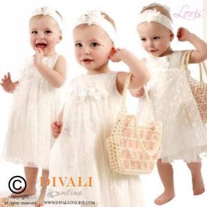 Monnalisa Tulle jurk dots off-white