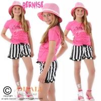 T-shirt v-hals logo Classico Jr. roze