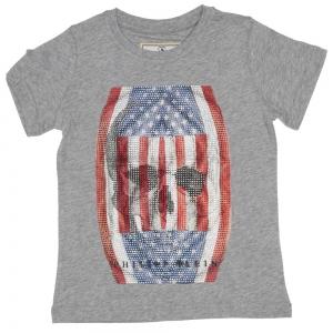 Philipp Plein Petite T-shirt American skull steentjes grey
