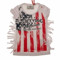 Top American flag fringes white