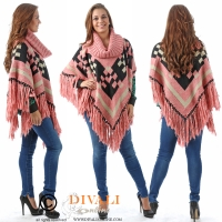 Poncho Aztec Rouge met loss coll