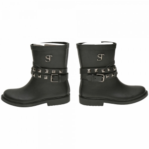 Supertrash Girls Korte regenlaars Shorty met zilveren studs Black - gunmetal