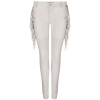 Skinny Xandra fringes Fake leather Nude