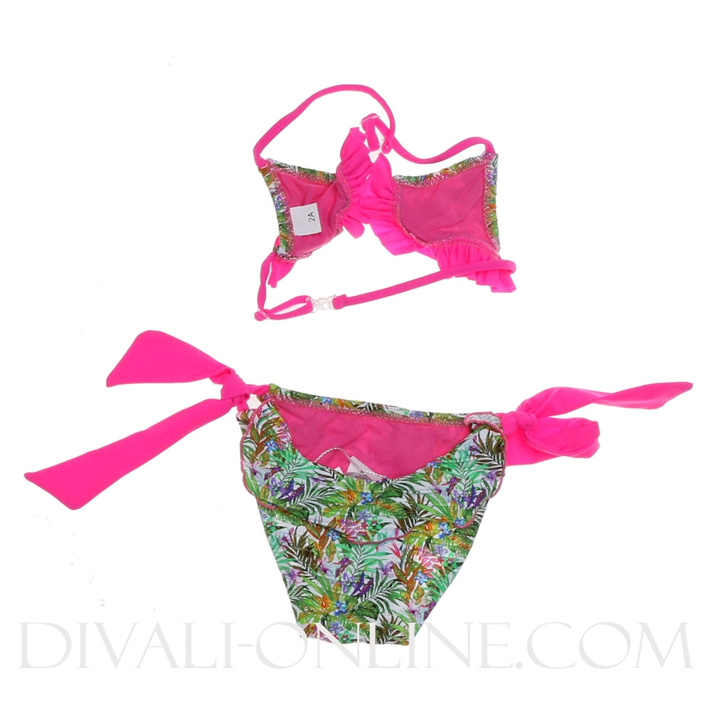 Bikini Leafs ruffles Fuchsia