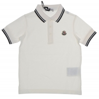 Moncler Polo wit met navy streep boord