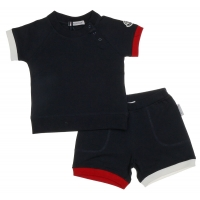Set Navy Blue Wit-Rood Details