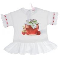 Monnalisa T-Shirt Strawberry Ruffle White
