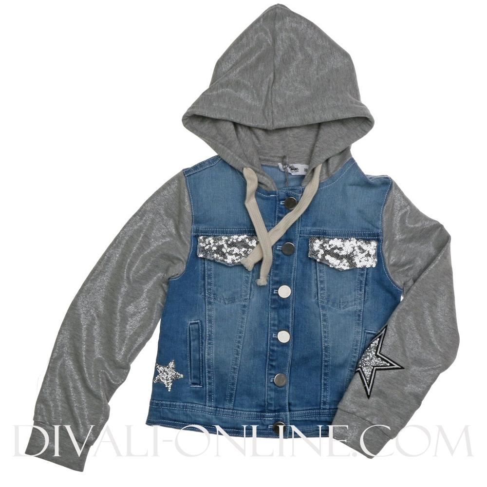 Denimjacket Paillet Grey-denim
