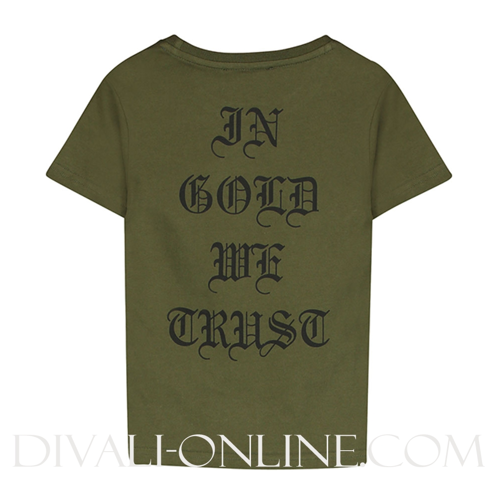 In gold we trust t shirt print green for Sustainable t shirt printing