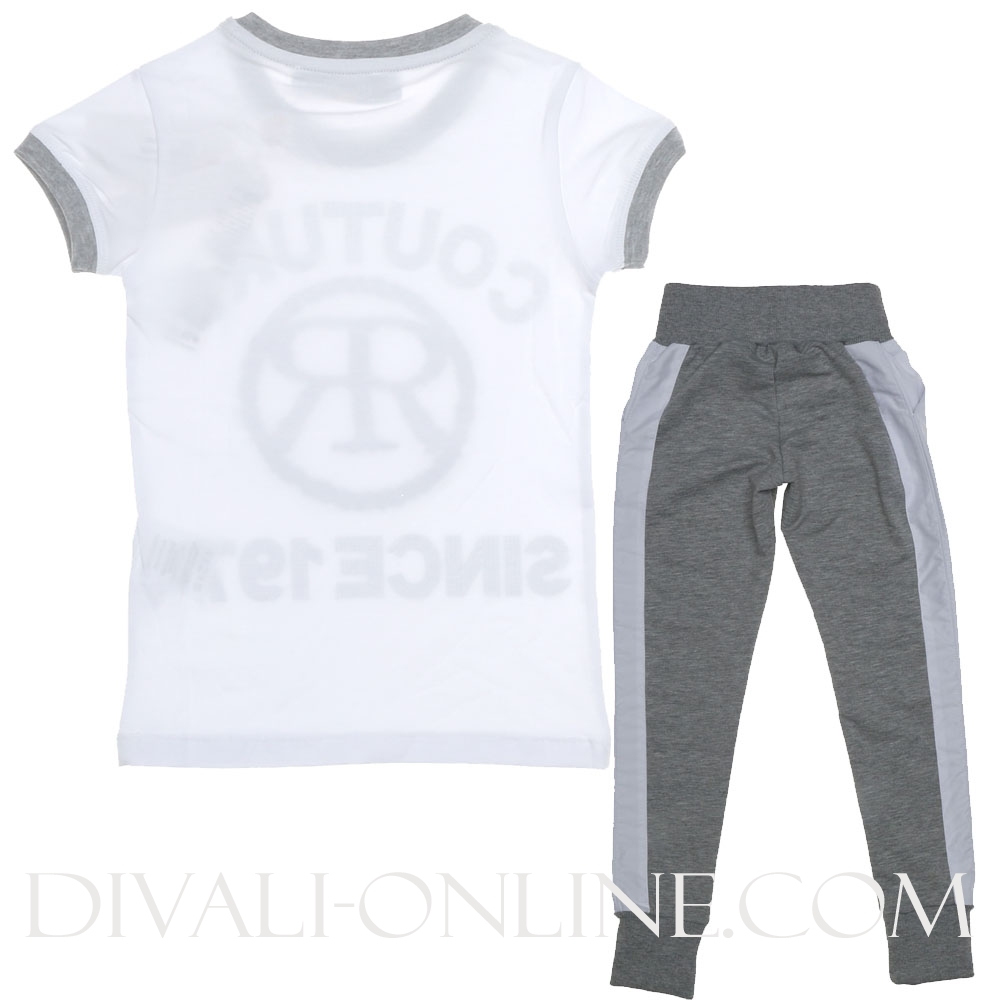 2-delige set - Joggingsbroek en T-shirt Grey- white