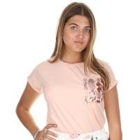 Radical T-shirt Maxine paillet Chest Soft pink