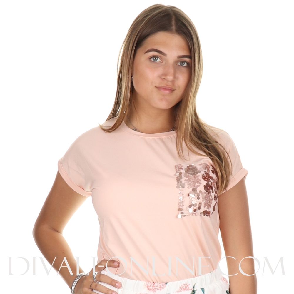 T-shirt Maxine paillet Chest Soft pink