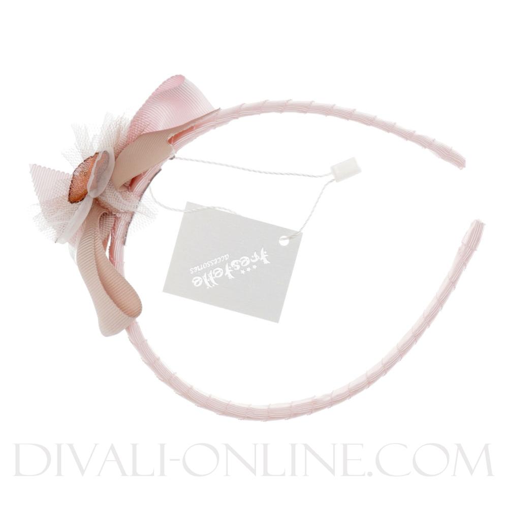 Diadeem Bow pink-beige
