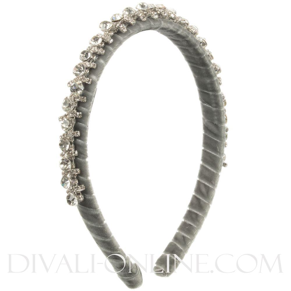 Diadeem Big beads strass grijs