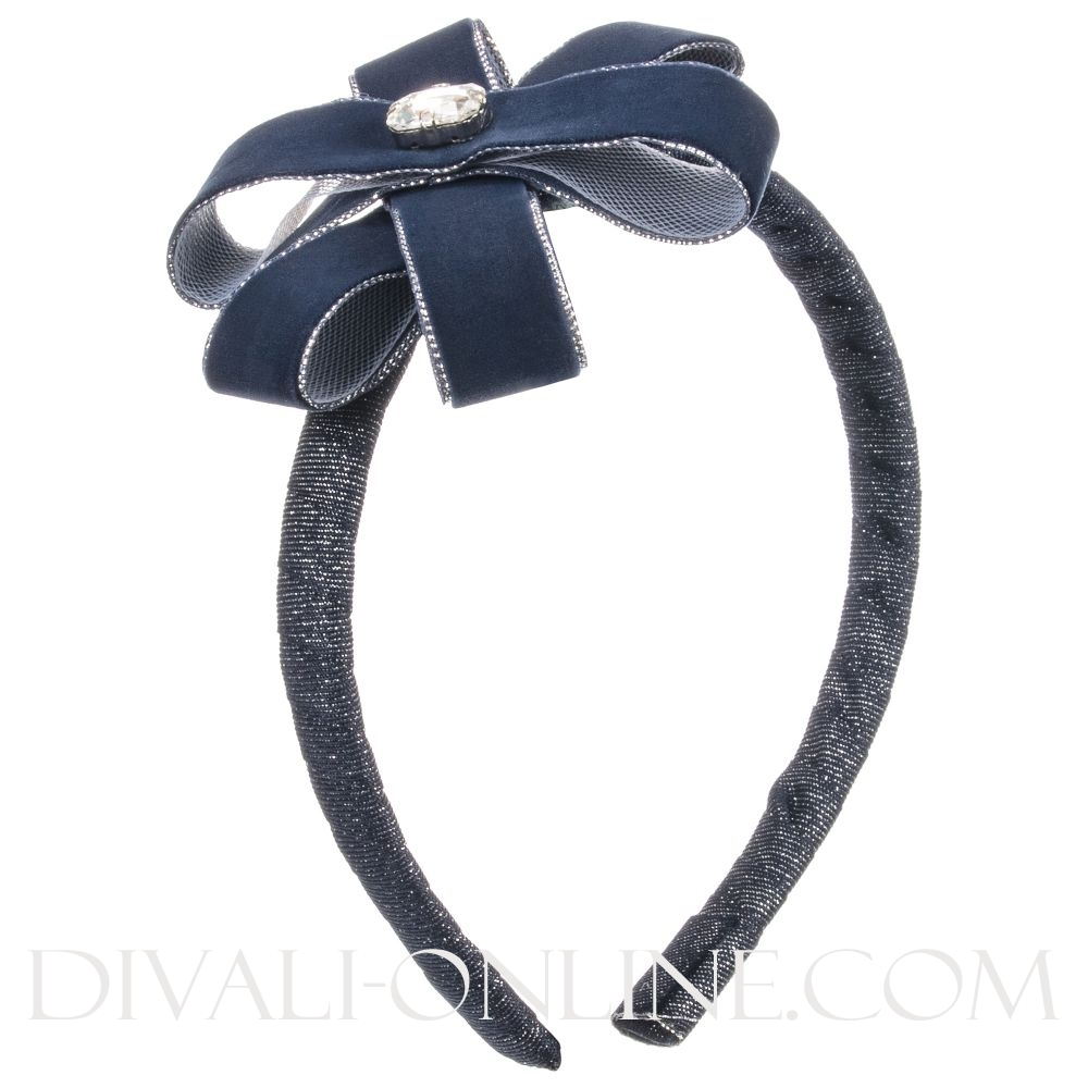 Diadeem Big flower strass Blauw
