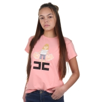 Elisabetta Franchi Girls T-shirt Girl With Bag Pink