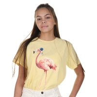 Elisabetta Franchi Girls T-shirt Yellow Flamingo