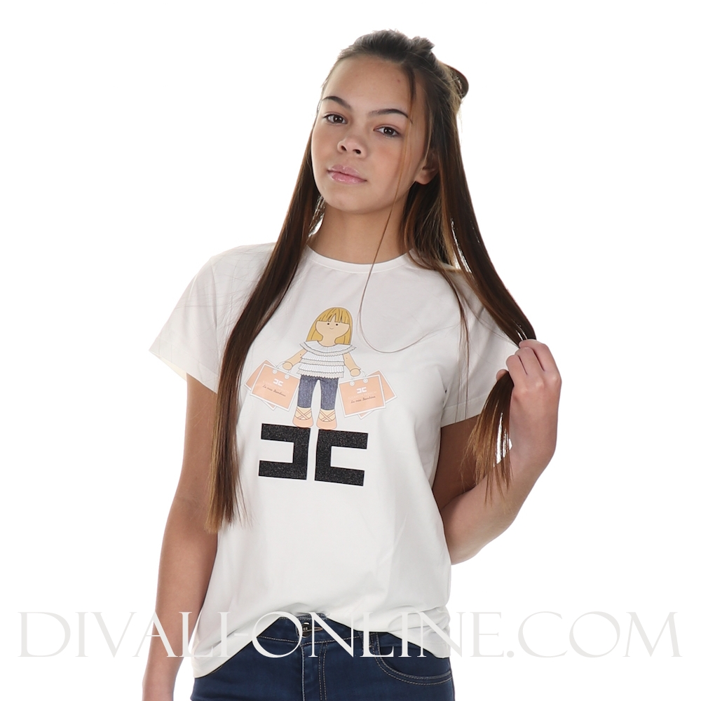 T-shirt Girl With Bag White