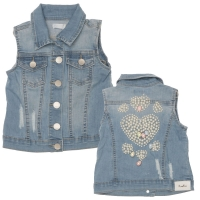 Fun&Fun Gilet Denim Baby Girl Beads
