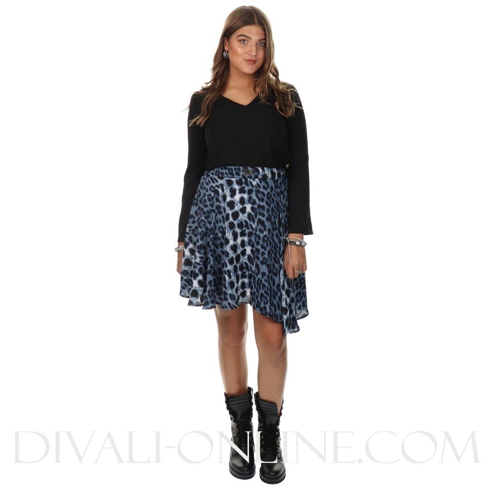 Skirt Leopard Print Blue Logo