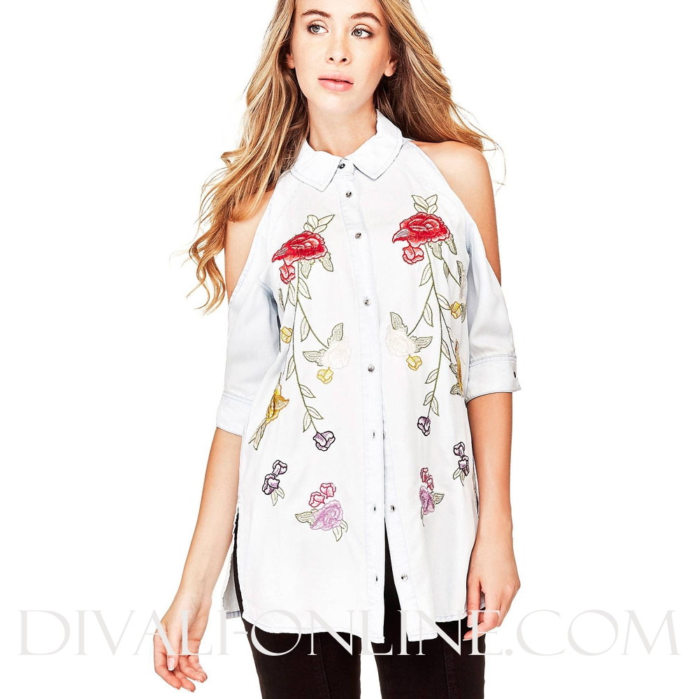 Denim Blouse Flowers