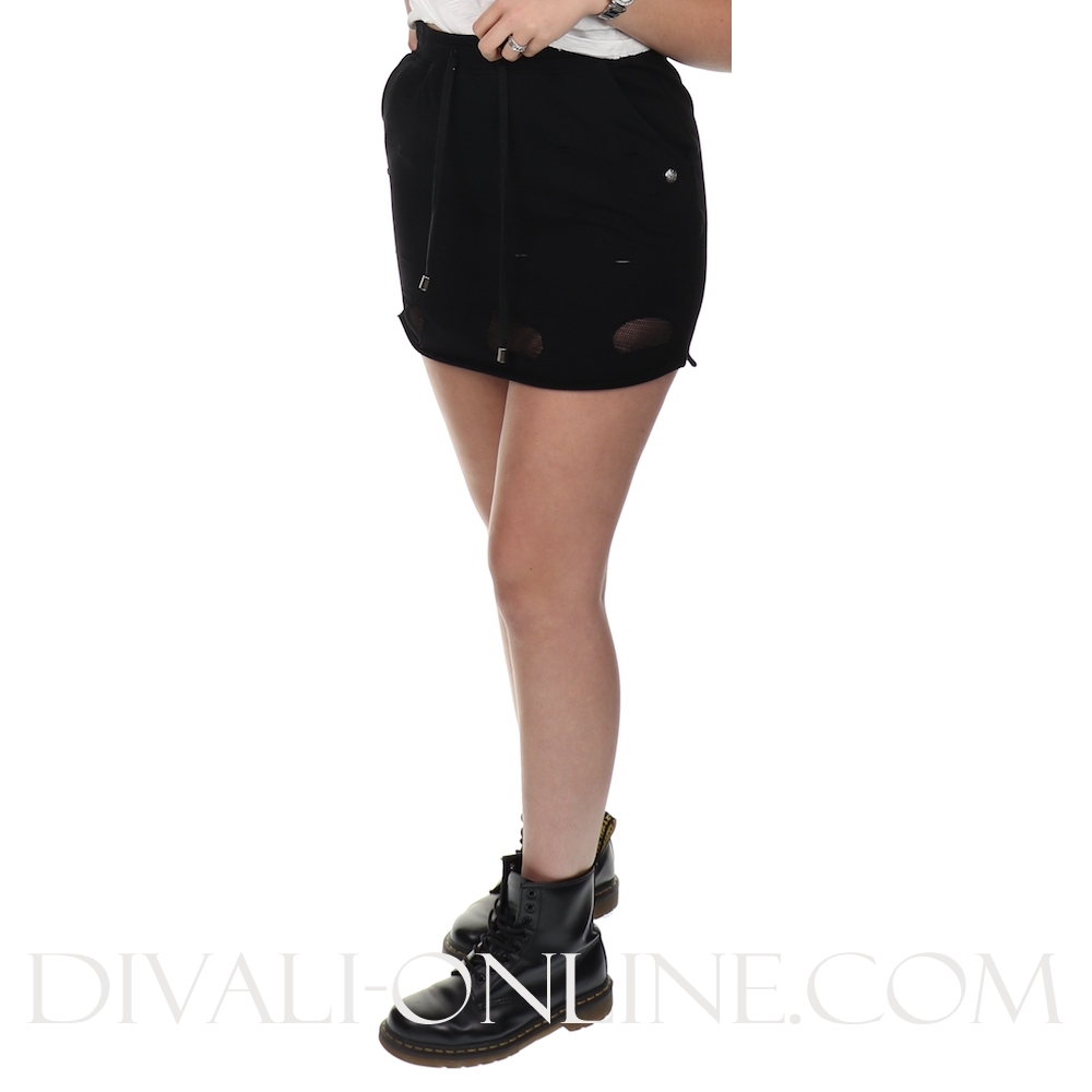 Skirt jogging Mesh Details Black