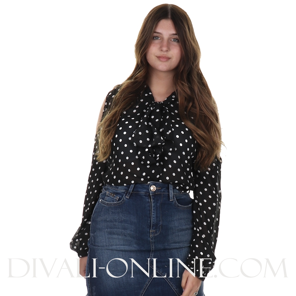 Blouse print Bow Black