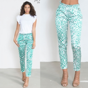 Printed Pants With Ruffle Leopard