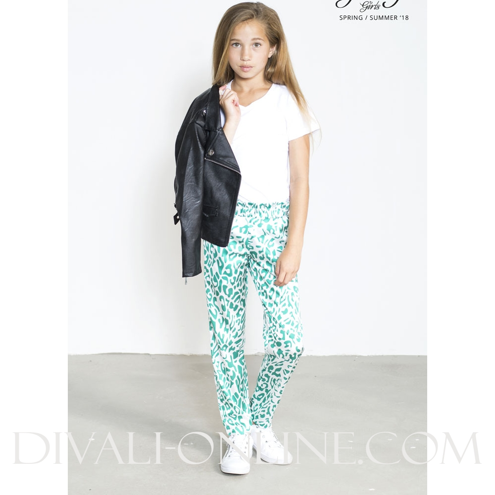 Pants Printed With Ruffle Leopard