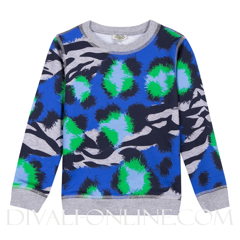 Sweater Print Blue Marl grey