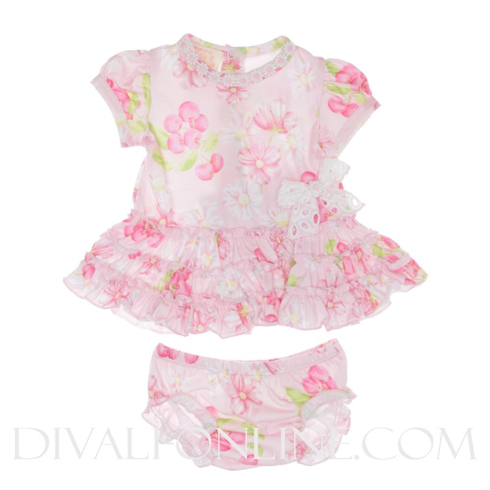 Set Tuniek Flowers met broekje Pink