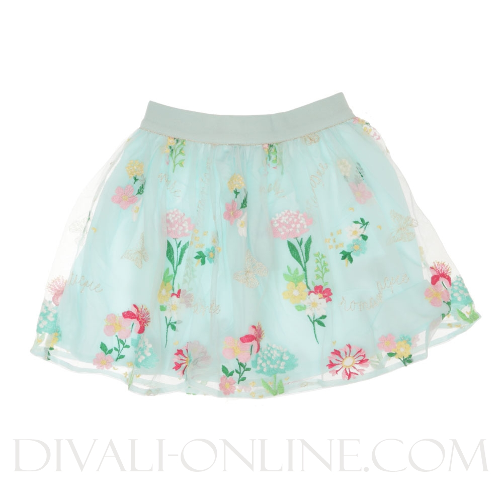 Tulle Rok Flowers turquoise