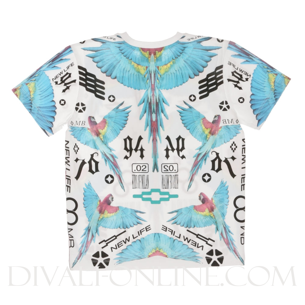 T-shirt Birds Blue White