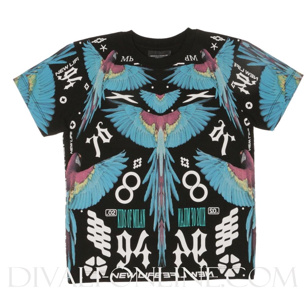 T-Shirt Birds Blue Black