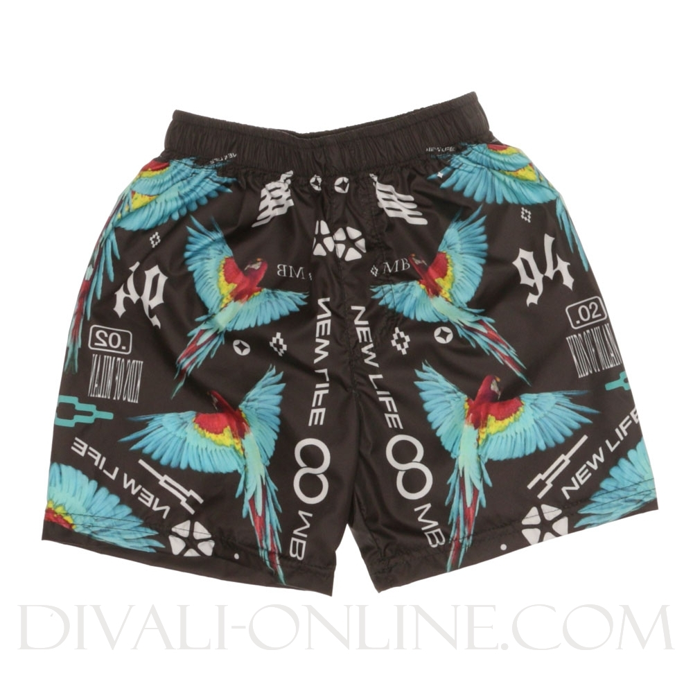 Zwemshort Birds Blue Black