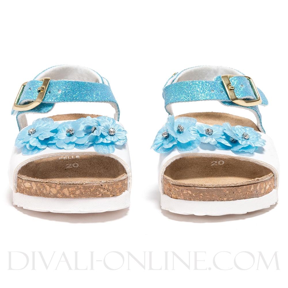 Sandaal Glitter Flowers Blue
