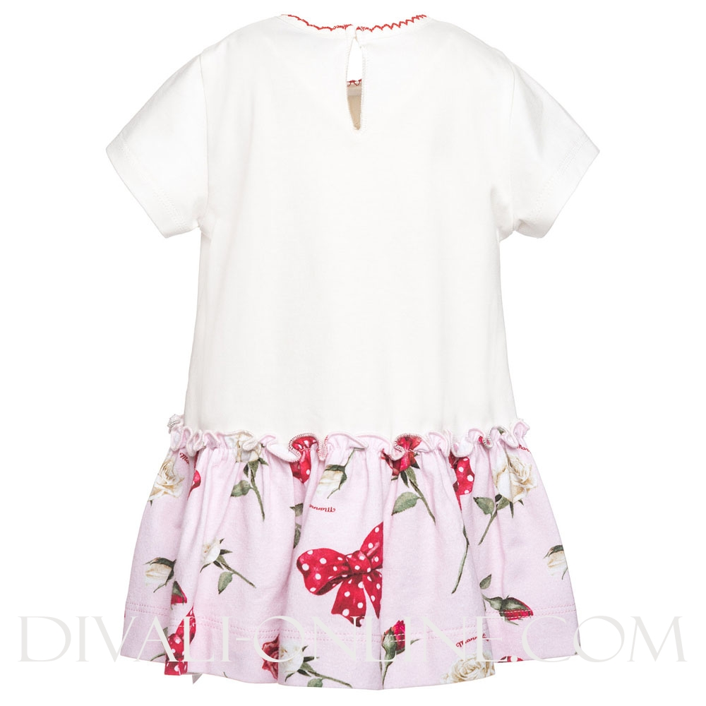 Dress Baby Roses Bow Off White