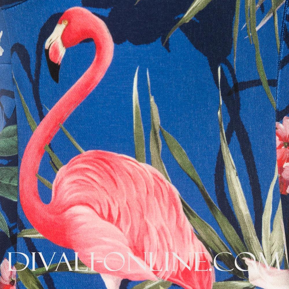 Mouwloze Jurk Jungle Kobalt