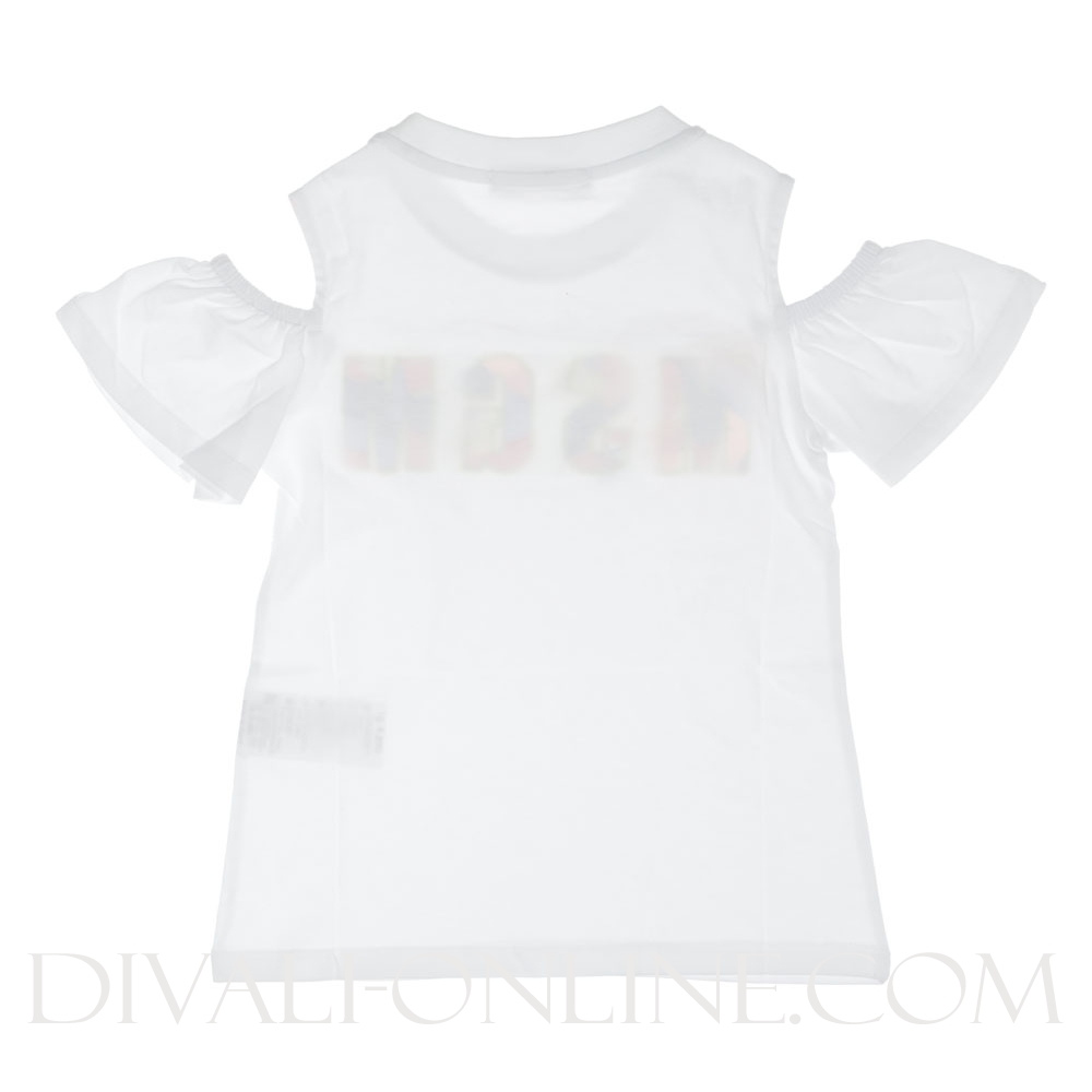 T-Shirt White Open Shoulders Pailletten