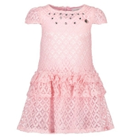 Le Chic Girls Dress Fancy Lace Pink Crystal
